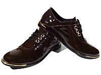 Туфли женские комфорт натуральная лаковая кожа шоколадные на шнуровке (4)