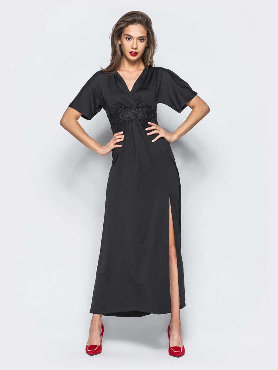 a6f22768452 📍Элегантное платье приталенного кроя в пол (черное)   Размер 42
