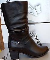 Сапоги демисезонные из натуральной кожи на устойчивом каблуке от производителя  модель СВ520В 283cf225e0629