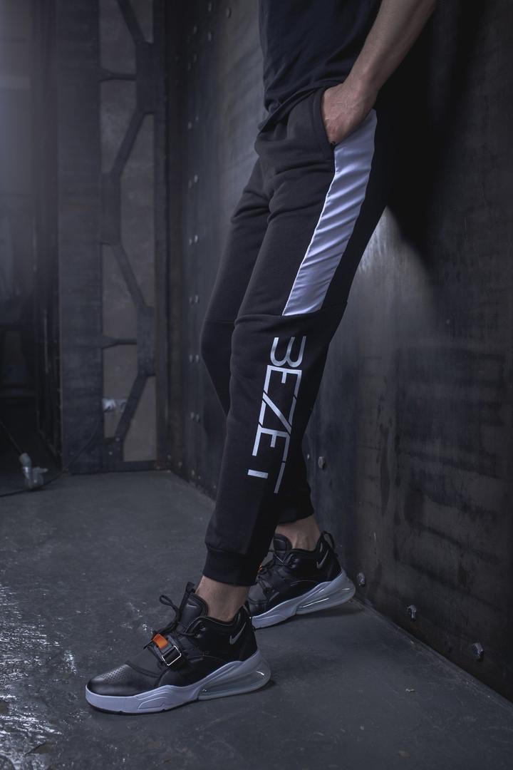 Мужские спортивные штаны BEZET Freestyle black/white'19, мужские спортивные штаны с лампасами