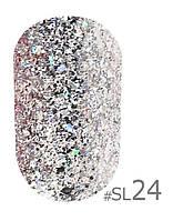 Гель-лак Naomi Self Illuminated SI 24, цвет - серебристые переливающиеся блестки и слюда, плотный, 6 мл.