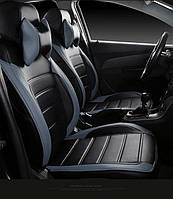 Чехлы на сиденья БМВ Е39 (BMW E39) (модельные, НЕО Х, отдельный подголовник) черно-серый