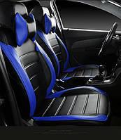 Чехлы на сиденья БМВ Е39 (BMW E39) (модельные, НЕО Х, отдельный подголовник) черно-синий