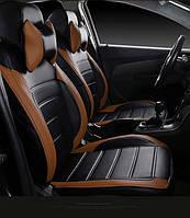 Чехлы на сиденья БМВ Е46 (BMW E46) (модельные, НЕО Х, отдельный подголовник) черно-коричневый