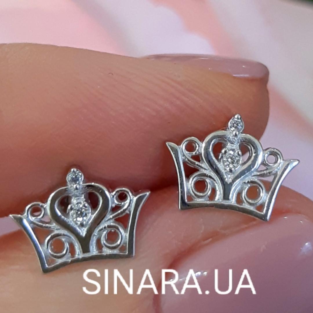 Серьги Корона серебряные - Родированные серебряные гвоздики Корона