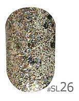 Гель-лак Naomi Self Illuminated SI 26, цвет - салатовое серебро с блестками, слюдой и салатов. конфетти 6 мл.