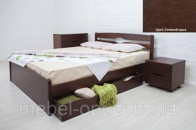Кровать полуторная деревянная Ликерия Люкс с ящиками 140х200, цвет темный орех