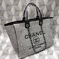 Женская модная сумка копия Шанель Chanel ткань текстиль серая