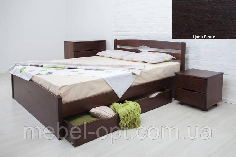 Кровать полуторная деревянная Ликерия Люкс с ящиками 140х200, цвет венге