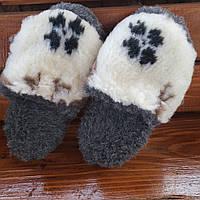 Тапочки из овчины олени c цветами на сером 36-41р