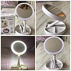 Двухстороннее LED ЗЕРКАЛО 👰 с LED подсветкой для макияжа My Foldaway Mirror Косметическое настольное зеркало, фото 4