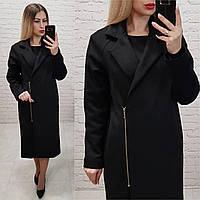 Распродажа!!! Замшевое пальто Oversize на змейке с карманами и подкладкой, М100, цвет черный