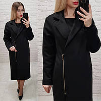 Замшеве пальто Oversize на змійці, з кишенями і підкладкою, М100, колір чорний, фото 1