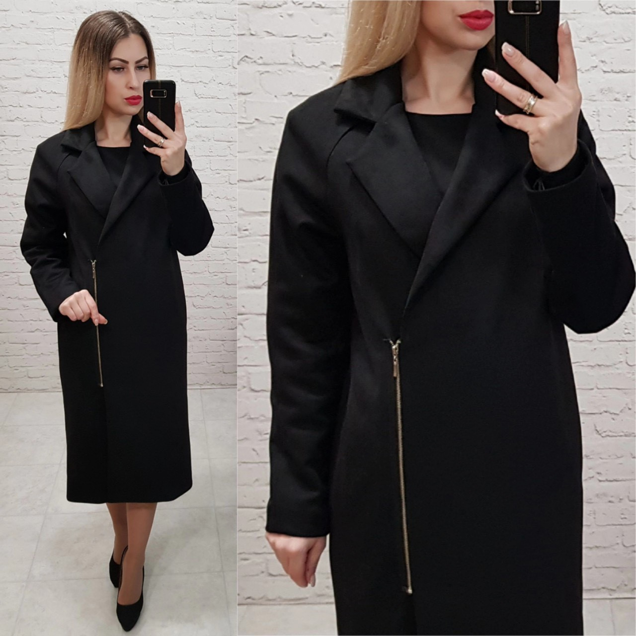 Замшеве пальто Oversize на змійці, з кишенями і підкладкою, М100, колір чорний