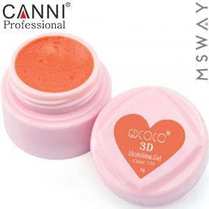 CANNI гель пластилин в баночке 3D Modelling Gel 8ml №15/775 ярко оранжевый, фото 2
