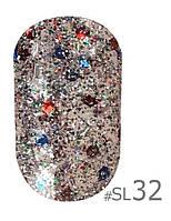 Гель-лак Naomi Self Illuminated SI 32, цвет - серебро с блестками, слюдой и красно-синими конфетти, 6 мл.