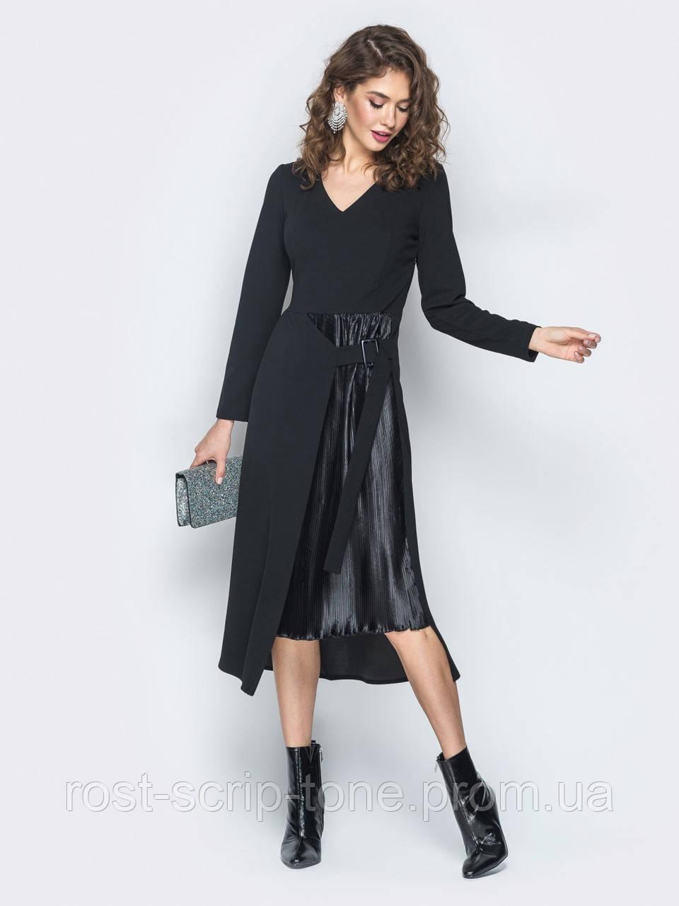 d116b95602f ♥️Оригинальное платье со вставкой-плиссе на полочке (черное
