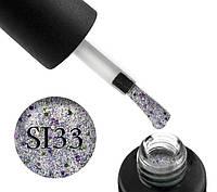 Гель-лак Naomi Self Illuminated SI 33, цвет – серебро с блестками, слюдой и салатово-розовыми конфетти, 6 мл.