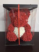 Мишка из 3D роз 40см в красивой подарочной упаковке мишка Тедди из роз оригинальный подарок девушке Оригинал