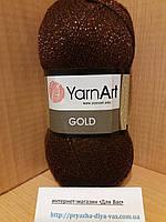 Акриловая пряжа с люрексом YarnArt Gold 9032(коричневый)
