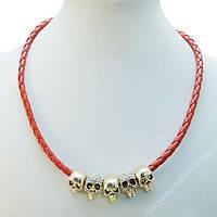 Колье .Ожерелье .Красное.Череп.