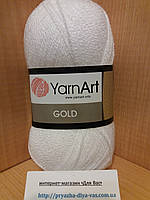 Акриловая пряжа с люрексом YarnArt Gold 9362(белый)