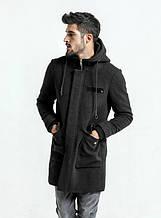 Удлиненное черное кашемировое мужское пальто