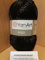 Акриловая пряжа с люрексом YarnArt Gold 9004(чёрный с золотом)