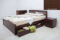Кровать двуспальная деревянная Ликерия Люкс с ящиками 160х200, цвет темный орех