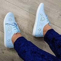Голубые летние женские мокасинына шнуркес перфорацией 37р, фото 1