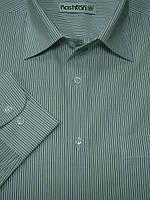 Мужская рубашка в серо-белую полоску
