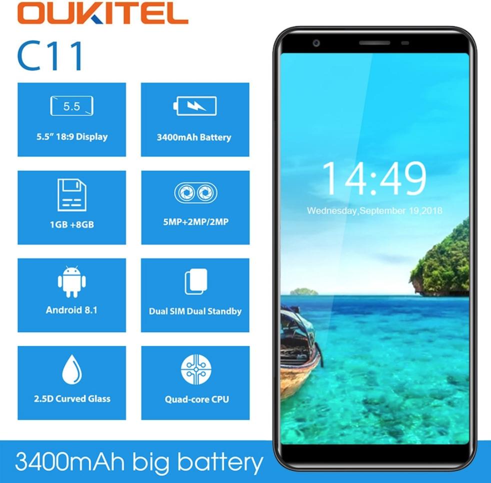 "Безрамочный телефон OUKITEL C11 5.45"" (960x480) Curved Glass / MT6580 / 1Гб / 8Гб / 5Мп / 3400мАч+чехол!"