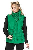 Женский стеганный жилет с воротником - стойка 44-54 размера зеленый, фото 1