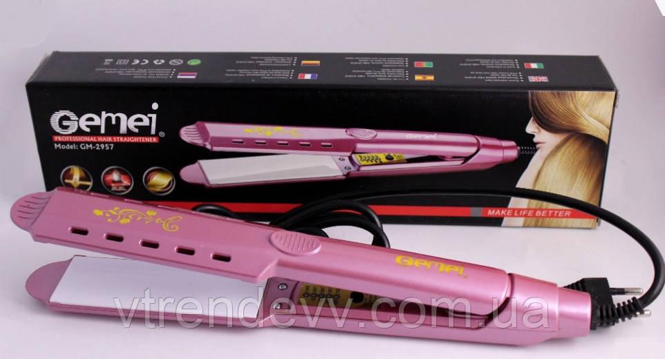 Випрямляч для волосся Gemei GM-2957 рожевий