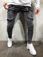 Мужские крутые Джинсы с карманами (серые)