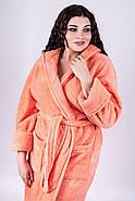 Женский длинный махровый халат с капюшоном Делли / размер 46,48,50,52,54,56,58 / цвет персик, фото 4