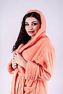 Женский длинный махровый халат с капюшоном Делли / размер 46,48,50,52,54,56,58 / цвет персик, фото 5