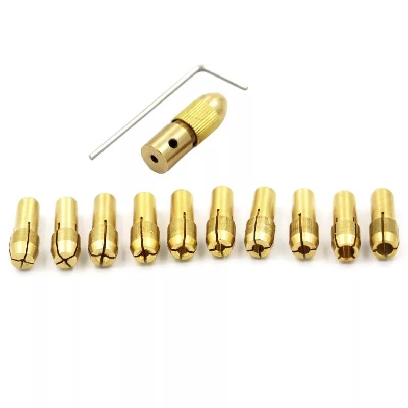 Мини патрон с набором цанг для сверл 0,5/0,8/1,0/1,6/1,8/2,0/2,2/2,4/3,0/3,2 мм