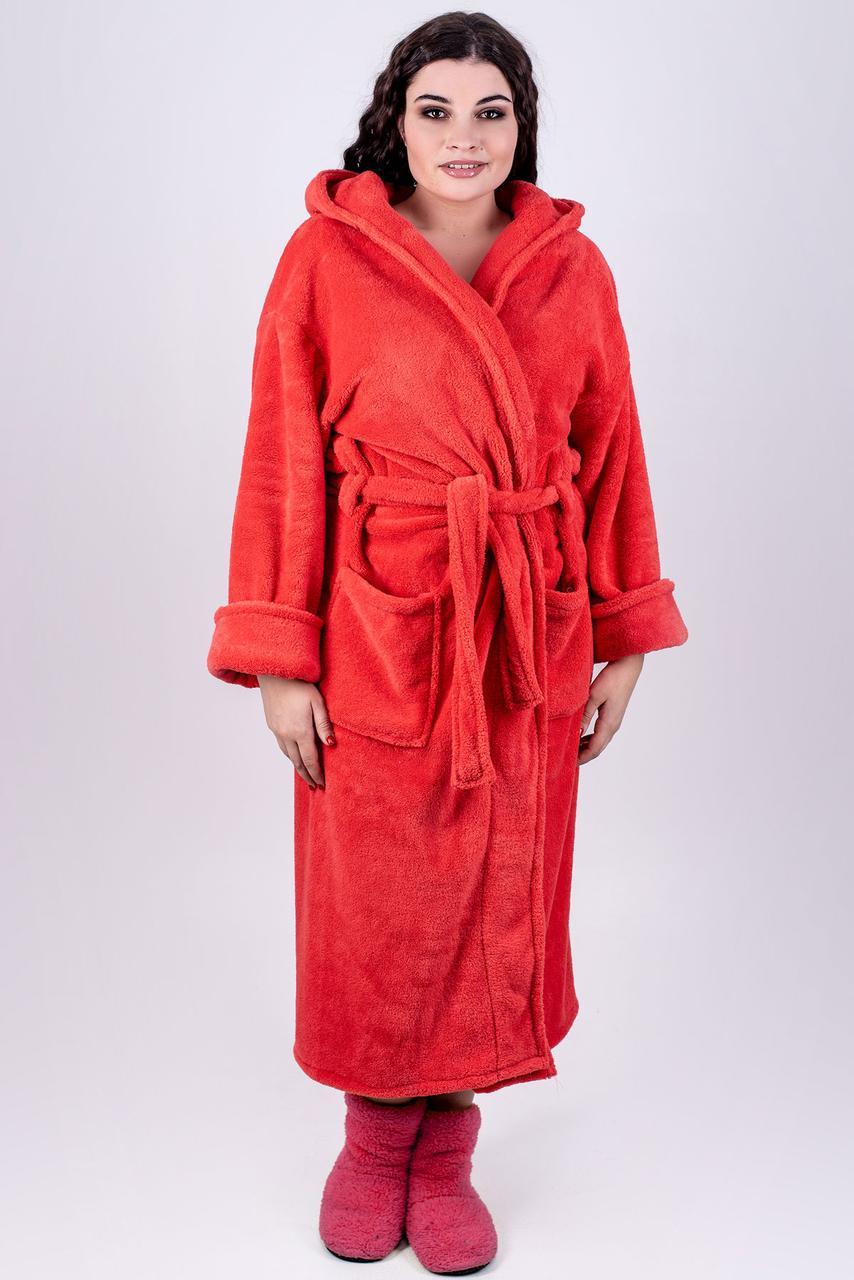 26f796b504316 Женский длинный махровый халат с капюшоном Делли / размер 46,48,50,52