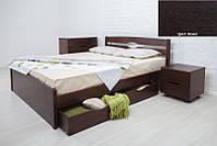 Кровать двуспальная деревянная Ликерия Люкс с ящиками 180х200, цвет венге