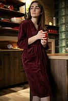 Женский  велюровый  халат на запах с декоративной вышивкой