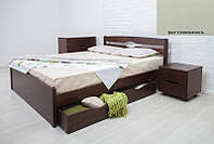 Кровать двуспальная деревянная Ликерия Люкс с ящиками 180х200, цвет слоновая кость