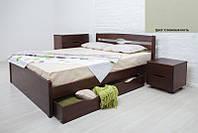 Кровать двуспальная деревянная Ликерия Люкс с ящиками 200х200, цвет слоновая кость