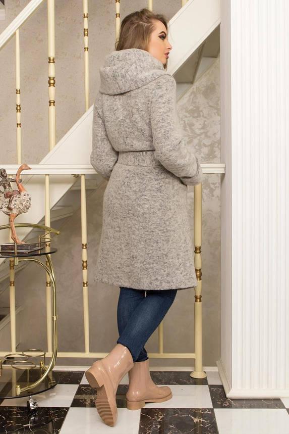 Красивое шерстяное пальто с капюшоном демисезонное серое, фото 2