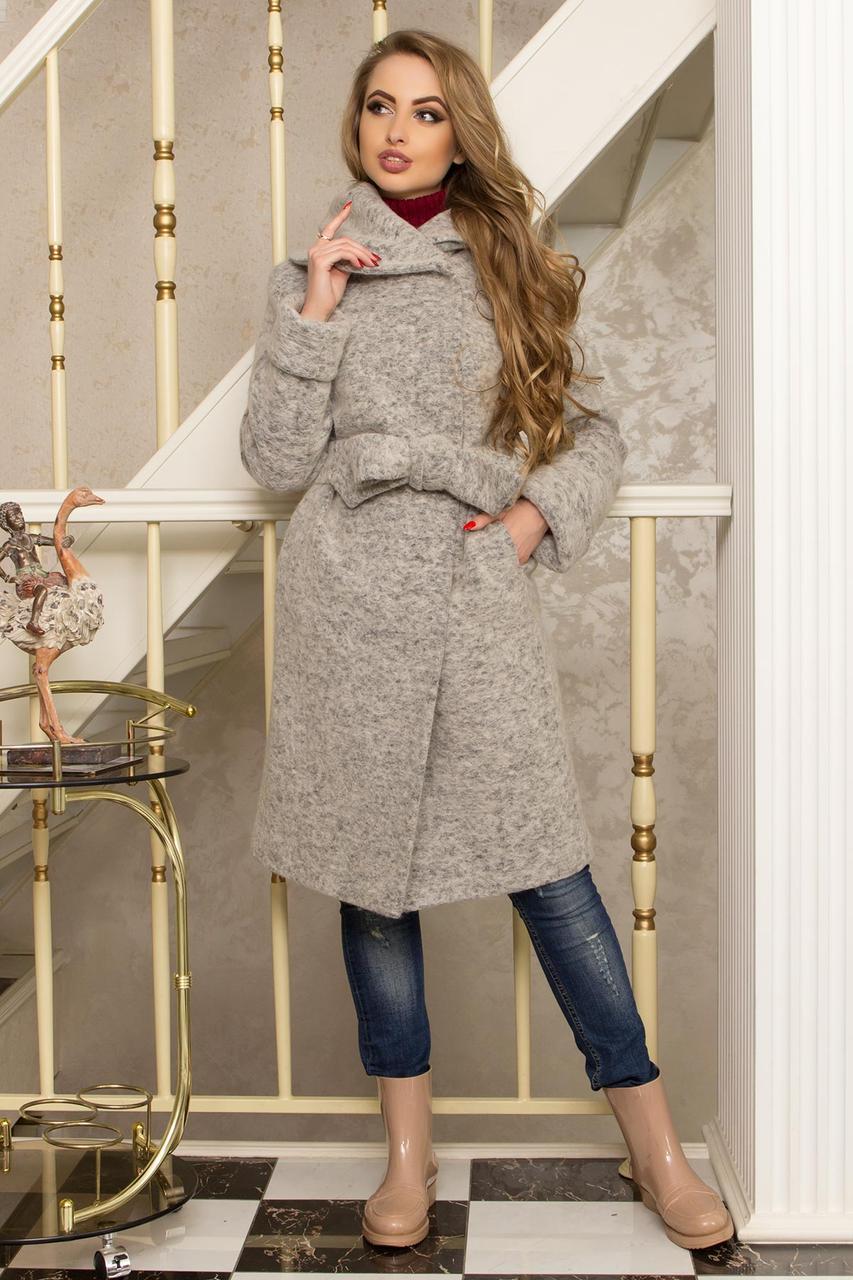 Красивое шерстяное пальто с капюшоном демисезонное серое