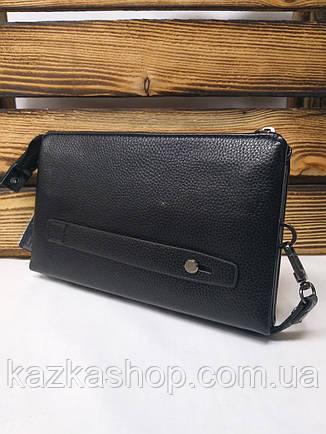 Мужской клатч черного цвета без клапана, на молнии, два отдела с коротким ремешком, фото 2
