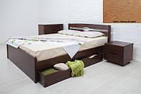 Кровать двуспальная деревянная Ликерия Люкс с ящиками 200х200, цвет светлый орех