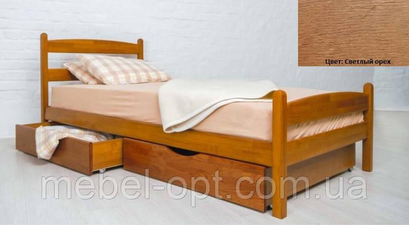 Кровать односпальная деревянная Ликерия Люкс с ящиками 80х200, цвет светлый орех