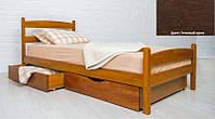 Кровать односпальная деревянная Ликерия Люкс с ящиками 80х200, цвет темный орех