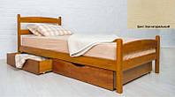 Кровать односпальная деревянная Ликерия Люкс с ящиками 80х200, цвет бук натуральный
